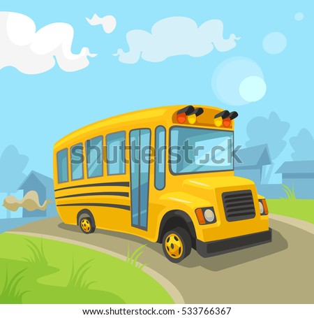 vetor stock de yellow school bus vector flat cartoon livre de