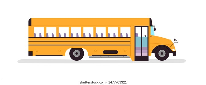 Yellow school bus vehicle illustration on isolated white background. Empty schoolbus from side view for education concept or field trip.