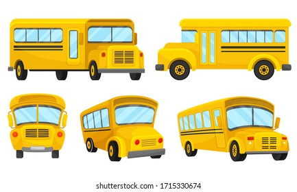 Yellow School Bus Viewed from Different Angles Vector Set
