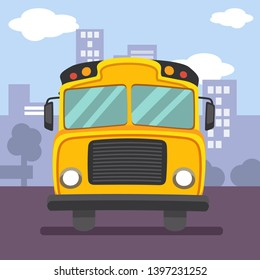 The yellow schoolbus be driving on the road. schoolbus on front view. city in the poster. back to school poster.doodle car.  cute cartoon of schoolbus or yellow car flat vector style