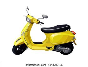 Yellow scooter motorbike. Vector illustration.