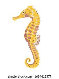 yellow sea horse cartoon. icon. modern simple vector illustration