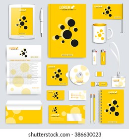 Yellow set of vector corporate identity template. Modern business stationery mock-up. Branding design with molecule logo . Medicine, science, technology concept.