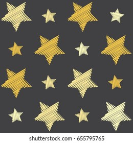 Yellow shade stars with machine embroidery texture on grey background, stitch effect seamless vector pattern. Illustration with embroidered star sparkles. Cosmic abstract graphic design.