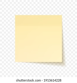 Yellow sheet of note papers with shadow, ready for your message. Realistic. Isolated on transparent background. Vector illustration.