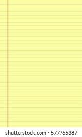yellow sheet. notepad. Office Equipment, School Supply Vector Paper Notebook