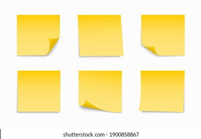 Yellow sheets of note papers set. Collection of sticky notes with curl and shadow. Realistic paper stickers for your message. Design element for advertising and promotional.