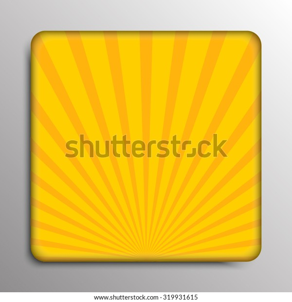 Yellow Shiny Sun Ray Background. Abstract Square Banner of the Shining Sun-Rays. Twister Effect. Comics, Pop Art Style. Yellow Ray Star Burst Background Vintage. Sunburst. Radial Lines. Explosion.