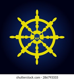 Yellow ship steering wheel on a blue background