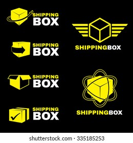 Yellow Shipping box logo sign vector set isolate on black