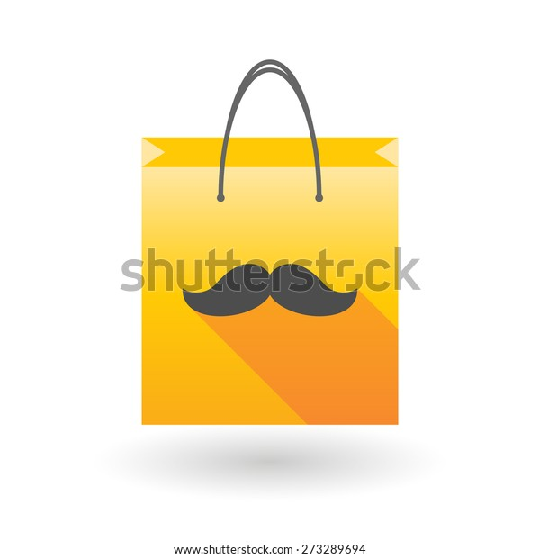 Yellow shopping bag icon illusdtration with a moustache