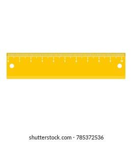 Yellow short ruler icon. Flat illustration of yellow short ruler vector icon for web.