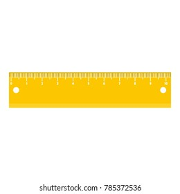 Yellow short ruler measurement icon. Flat illustration of yellow short ruler measurement vector icon for web.
