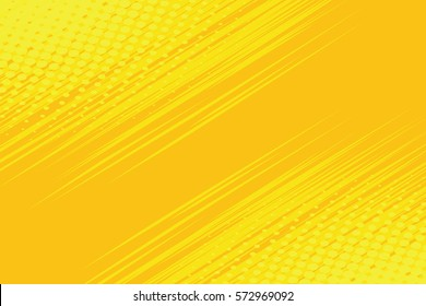 Yellow side hatch with halftone effect. Vintage pop art retro vector illustration