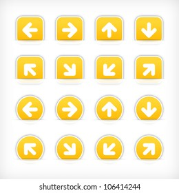 Yellow sign arrow sticker on cut paper pocket. Web button blank satin circles and rounded square shapes with gray drop shadow on white background. This vector illustration design element saved 10 eps