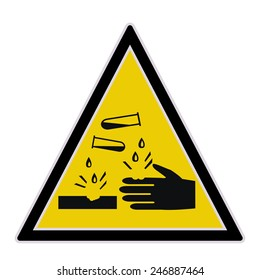 Yellow sign with caustic and corrosive substances warning. Vector illustration.