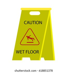 """Yellow sign """"Caution. Wet floor"""" used in cleaning offices and other public spaces. Vector illustration"""