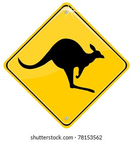 Yellow sign with a kangaroo, vector illustration