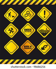 yellow signs over black background. vector illustration