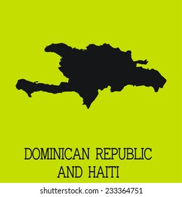 Yellow Silhouette of the Country Dominican Republic and Haiti
