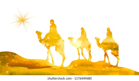 yellow silhouette of the Magi on camels