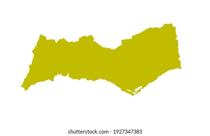 Yellow silhouette of a map of the Algarve city in southern Portugal on a white background