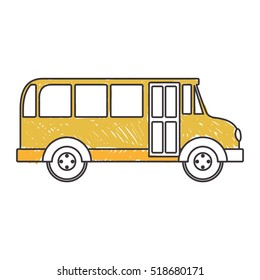 yellow silhouette school bus to right side