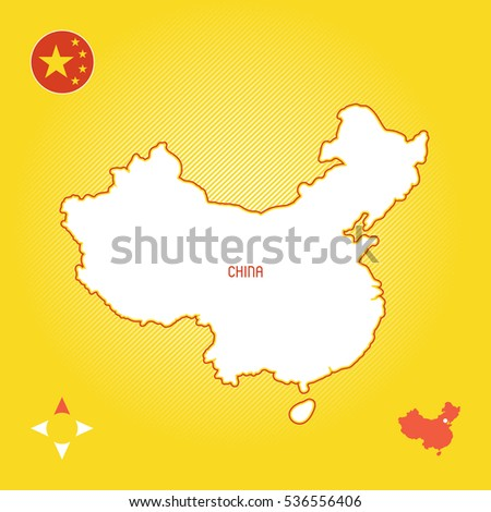 Yellow Simple Outline Map China Stock Vector (Royalty Free ...