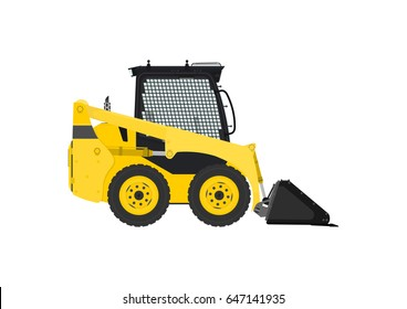 Yellow skid steer loader. Side view. Flat vector.