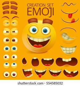 Yellow smiley face character for your scenes template. Emotion big set. Vector illustration