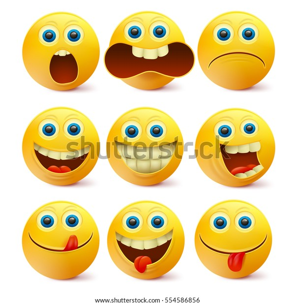 Yellow Smiley Faces Emoji Characters Template Stock Vector