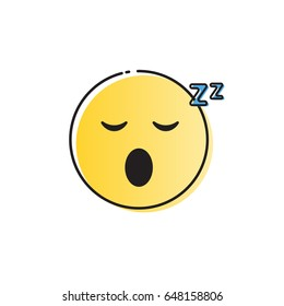 Yellow Smiling Cartoon Face Sleeping People Emotion Icon Vector Illustration