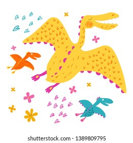 Yellow smiling dinosaur flying with dino babies. Family of pterosaur. Cute animal. Vector background. Isolated hand drawn illustration. Funny character for kids. Pencil texture.