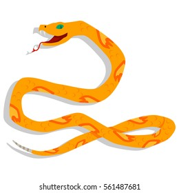 Yellow snake cartoon character. Vector illustration isolated on white background. Dangerous and toxic nature wild animals in the flat style.