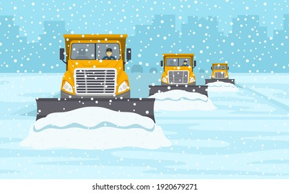 Yellow snow plow convoy clearing the highway. Winter driving conditions. Flat vector illustration template.