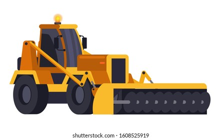 Yellow snow removal bulldozer isolated on white. Cartoon plow tractor front view. Special urban vehicle with cleaning road equipment. Snowblower transport. Vector snowplow machine flat illustration