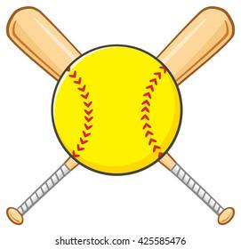 Yellow Softball Over Crossed Bats Logo Design. Vector Illustration Isolated On White Background