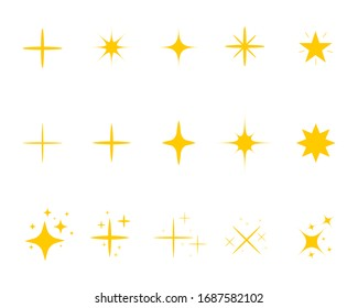 Yellow sparkles in flat style. Golden light star twinkle on isolated background. Silhouette decorative burst for christmas. Magic lights effect for birthday banner. Decoration vector illustration