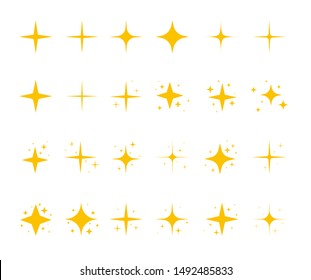 Yellow sparkling stars, shiny flashes of fireworks. Set of star elements with various glowing light effects.