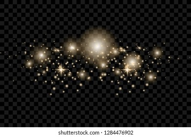 yellow sparks and golden stars glitter special light effect. Vector sparkles on transparent background. Christmas abstract pattern. Sparkling magic dust particles