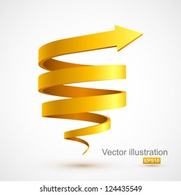 Yellow spiral arrow 3D.