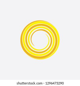 yellow spiral sun stylized icon vector