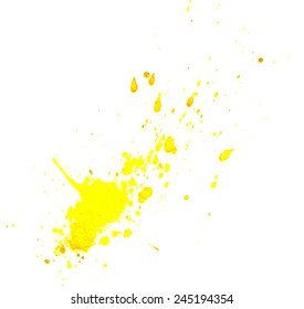 Yellow splatter isolated. Vector