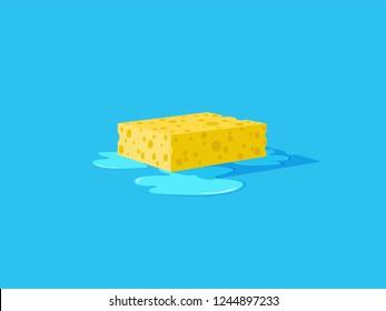 Yellow sponge with bubbles. Wet floor. Vector flat illustration.