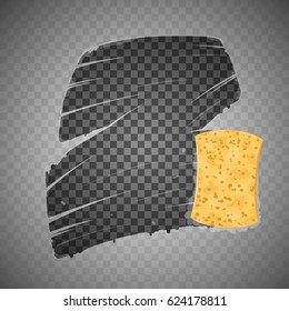 Yellow sponge wiping glass. Transparent effect. Vector Illustration.