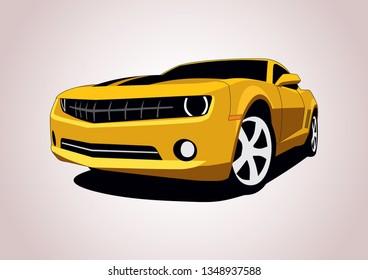 Yellow sports car. Chevrolet Camaro.