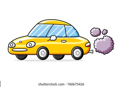 Yellow sports car with exhaust smoke clouds isolated, air pollution issue.