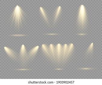 The yellow spotlight shines on the stage. light exclusive use lens flash light effect. abstract light from a lamp or spotlight. lighted scene. podium under the spotlight. vector