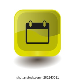Yellow square button with black calendar sign, vector design for website