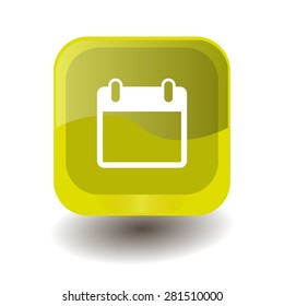 Yellow square button with white calendar sign, vector design for website